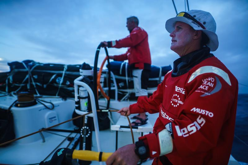 Leg 4, Melbourne to Hong Kong, day 13, Stacey Jackson stands by to trim for Tony Mutter on board Vestas 11th Hour. - photo © Amory Ross / Volvo Ocean Race