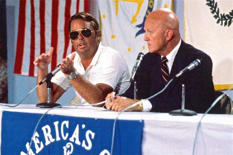 Dennis Conner (left) and moderator Bill Ficker at a Media Conference after Race 1 of the 1983 America's Cup photo copyright Paul Darling taken at New York Yacht Club and featuring the 12m class