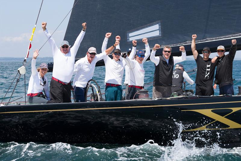 Challenge XII (KA-10) owner/helmsman Jack LeFort (second from left) celebrates victory and a World Championship title after today's final race of the 2019 12 Metre World Championship - photo © Ian Roman