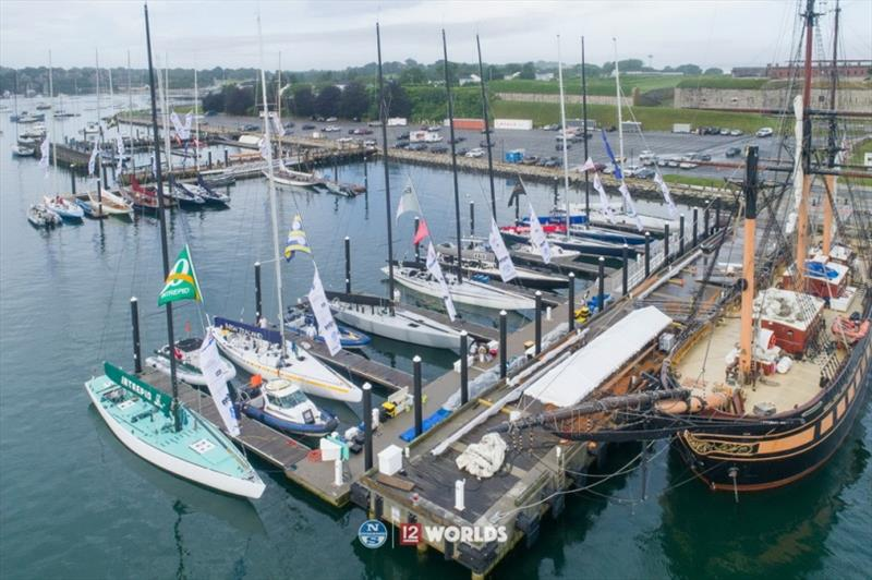 Competing 12 Metres gather dockside at the 12 Metre Worlds 2019 in Newport, R.I. photo copyright Ian Roman taken at  and featuring the 12m class