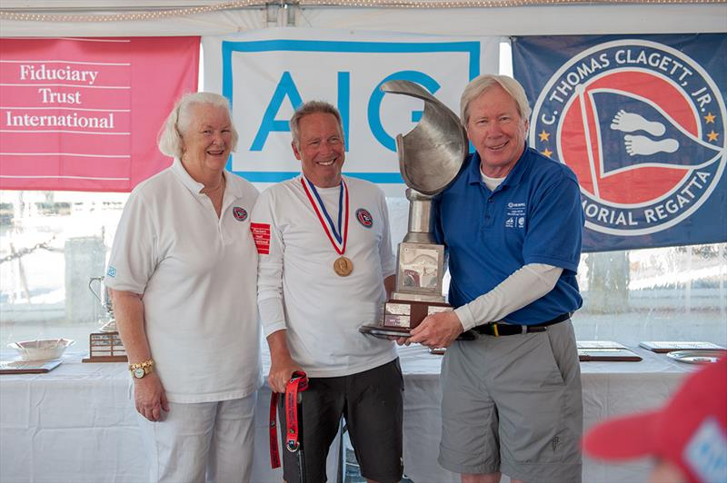 Winner of the Clagett Trophy Peter Eager with Judy Clagett McLennan and Tom Duggan - 17th C. Thomas Clagett, Jr. Memorial Clinic and Regatta 2019 - photo © Ro Fernandez