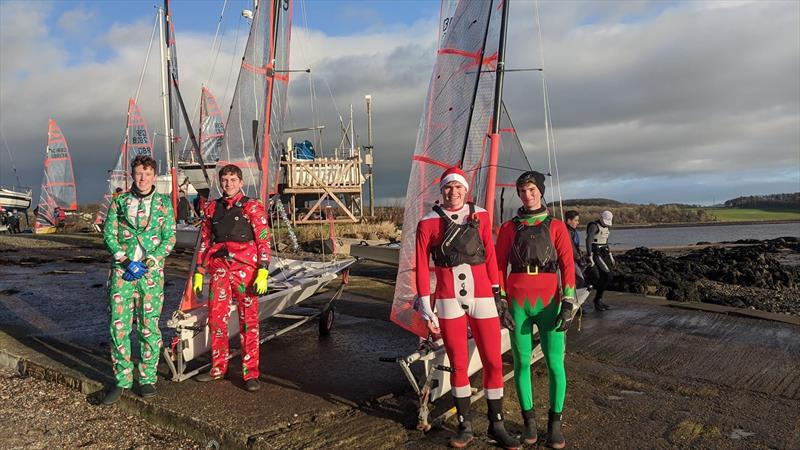RYA Scotland 29er Christmas Regatta fancy Dress winners on the right - Orri and Stuart photo copyright David Sturrock taken at Dalgety Bay Sailing Club and featuring the 29er class