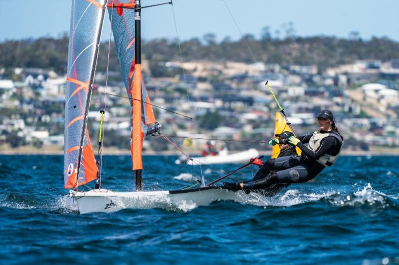 Leading girl crew in the 29ers, Alice Buchanan and Dervla Duggan - Day 3, Australian Sailing Youth Championships 2019 - photo © Beau Outteridge