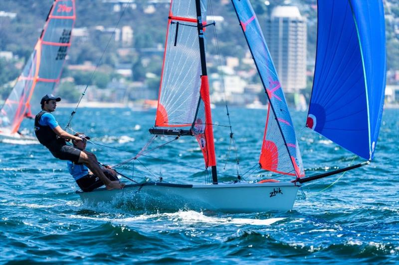 29er champions Archie Cropley and Max Paul (NSW) in action on the Derwent today - Day 4, Australian Sailing Youth Championships 2019 - photo © Beau Outteridge