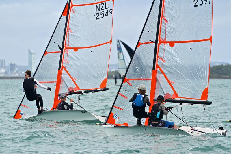 Matthias Coutts follows Eli Liefting on abrave port tack start - Day 2 - Oceanbridge NZL Sailing Regatta - February 2, 2019 - photo © Richard Gladwell