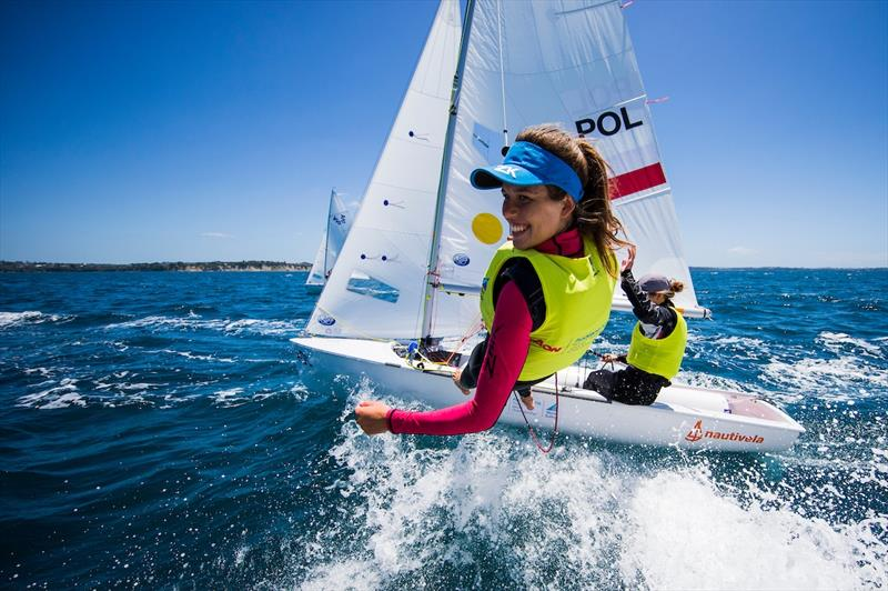 Gold for Julia Szmit and Hanna Dzik (POL) at the Aon Youth Worlds in Auckland - photo © Pedro Martinez / Sailing Energy / World Sailing