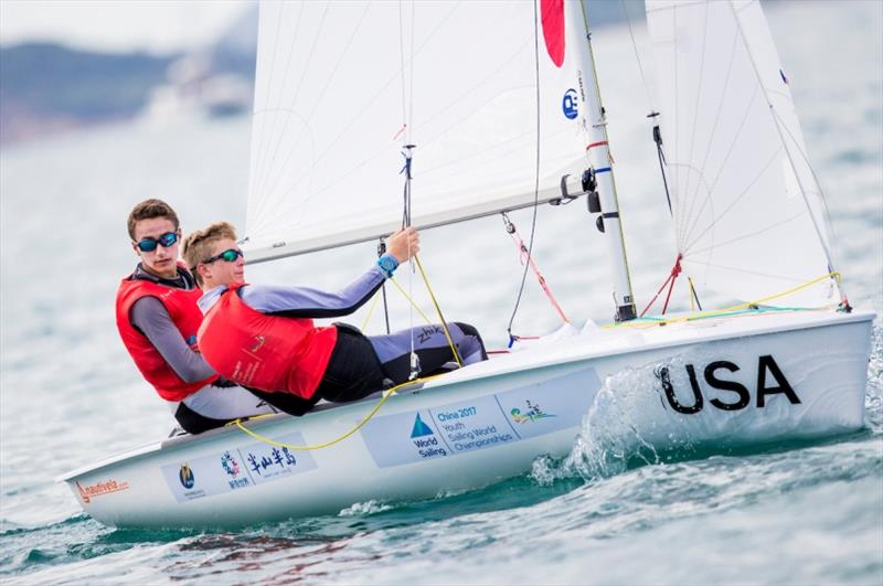 American 420 Boys sailors - Thomas Rice and Trevor Bornarth at Youth Sailing Worlds Sanya - photo © Tomas Moya / Sailing Energy / World Sailing