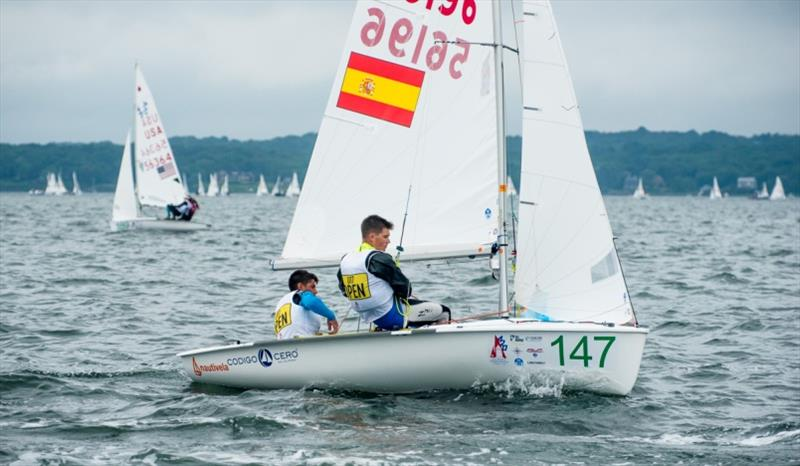 Jacobo Garcia and Antoni Ripoll (ESP) lead 420 U17 - photo © Cate Brown / 420 Class