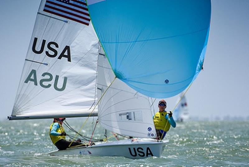 Carmen (left) and Emma Cowles (right) - 2018 Youth Sailing World Championships - photo © James Tomlinson