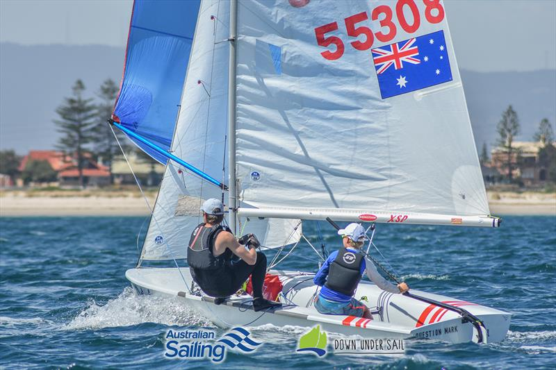 Quinn Auricht and Lachlan Nairn in the 420 fleet last year - South Australian Youth Championships photo copyright Harry Fisher taken at Adelaide Sailing Club and featuring the 420 class