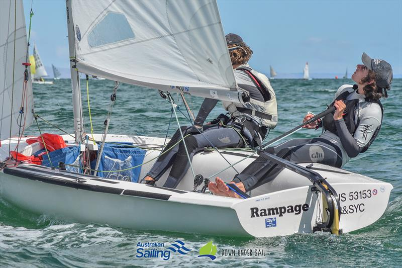 Alexi Wigglesworth and Taran Sanderson sailing in the 420 fleet - 2019 South Australian Youth Championships - photo © Harry Fisher