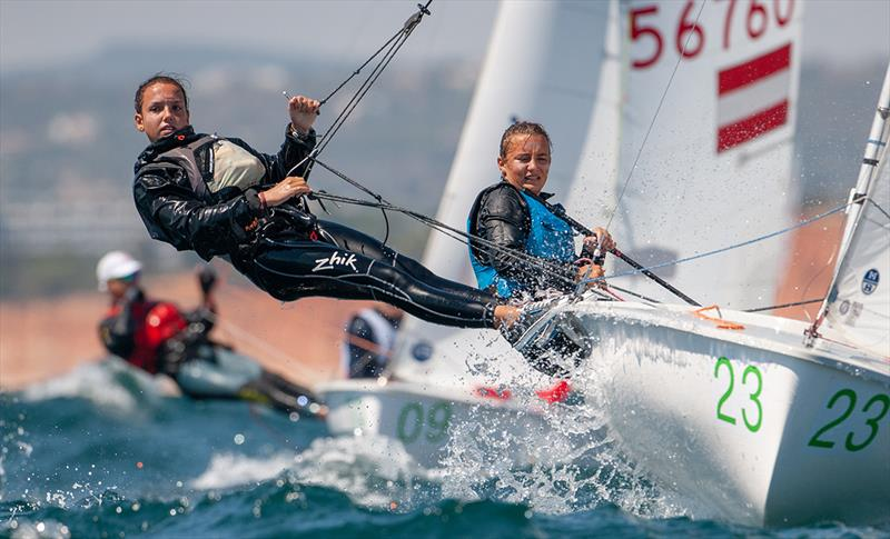 Louise Madranger/Flavie Arnaud (FRA) racing in U17  - 2019 420 World Championship - photo © Osga - João Ferreira
