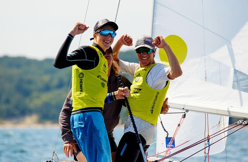 Seb Menzies and Blake McGlashan (NZL) - 420 - Day 5 - 2019 Hempel Youth Sailing World Championships, Gdynia, Poland - photo © Jacek Kwiatkowski / World Sailing