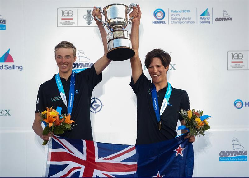 Seb Menzies and Blake McGlashan (NZL) - Day 5  - 420 - 2019 Hempel Youth Sailing World Championships, Gdynia, Poland - photo © Robert Hajduk / World Sailing