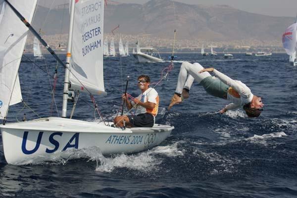 Paul Foerster & Kevin Burnham celebrate winning gold at the Athens 2004 Olympic regatta - photo © Richard Langdon