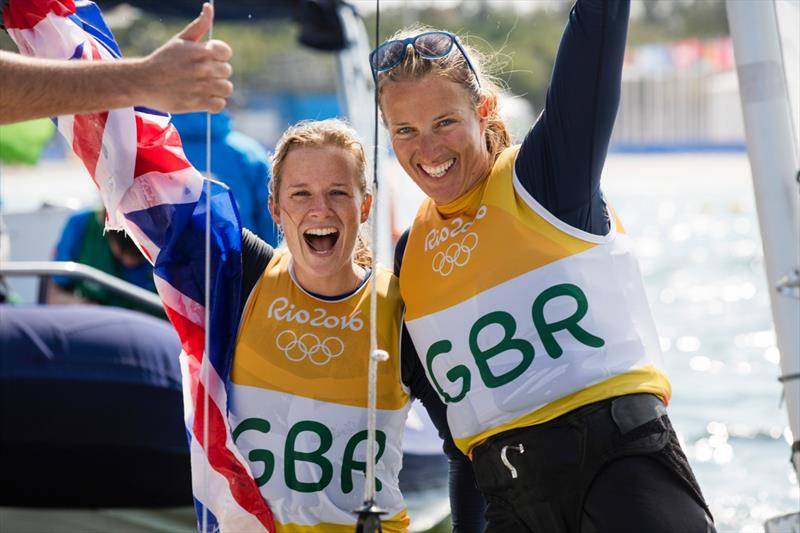Gold for Hannah Mills & Saskia Clark (GBR) in the Women's 470 at the Rio 2016 Olympic Sailing Competition - photo © Richard Langdon / Ocean Images