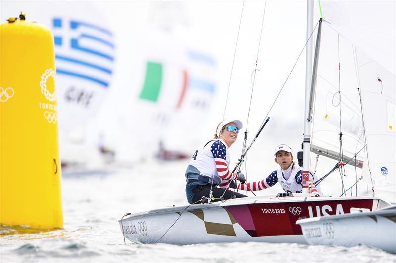 Nikki Barnes (St. Thomas, USVI) and Lara Dallman-Weiss (Shoreview, Minn.) at the Tokyo 2020 Olympic Sailing Competition - photo © Sailing Energy / US Sailing