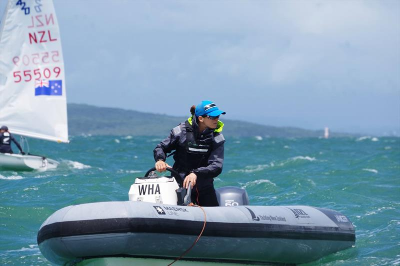 Jo Aleh, coaching at the Oceanbridge NZL Sailing Regatta - Day 1, February 3, 2018 Murrays Bay SC. - photo © Yachting NZ