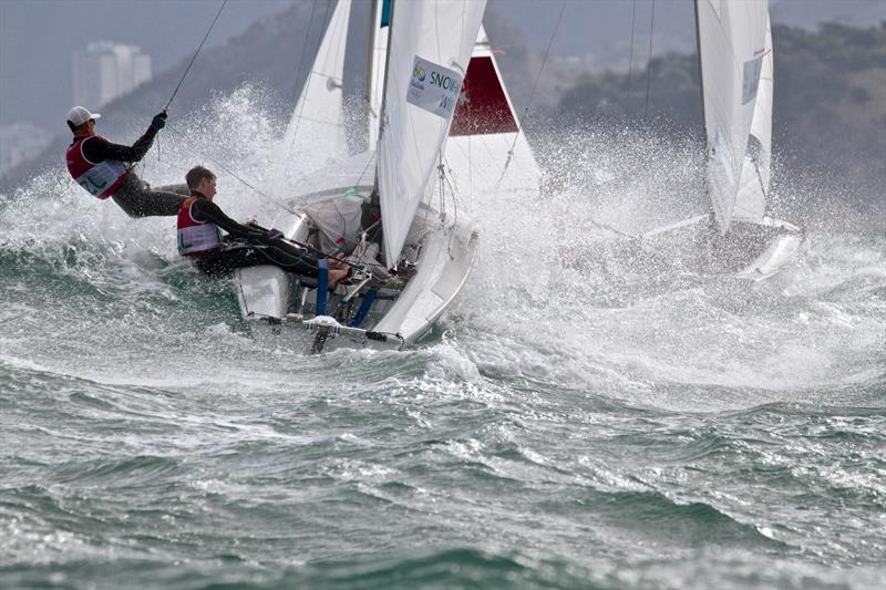 Olympic racing at its best - Paul Snow-Hansen and Dan Willcox blast upwind on Day 4 of the 2016 Olympic Regatta - a sight not seen by TV viewers. - photo © Richard Gladwell
