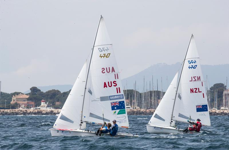 Paul Snow-Hansen and Daniel Willcox trail Matt Belcher and Will Ryan (AUS) - Sailing World Cup, Hyeres, April 29, 2018 - photo © Richard Langdon / Sailing Energy