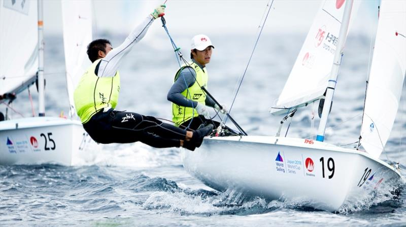 Keiju Okada and Jumpei Hokazono (JPN) in the 470 on Day 3 at World Cup Series Enoshima - photo © Pedro Martinez / Sailing Energy / World Sailing