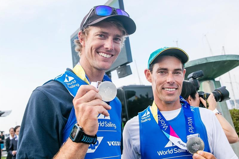 Will Ryan (L) and Mat Belcher  - Olympic Test Event at Enoshima - photo © Sailing Energy-World Sailing