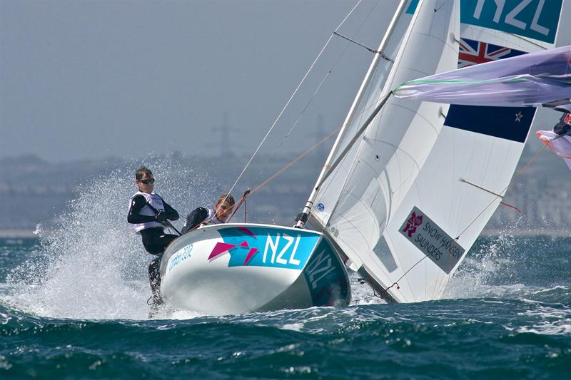 The NZL crew (Paul Snow-Hansen and Dan Willcox) contest the lead in the 470 at the 2012 Olympics - photo © Richard Gladwell