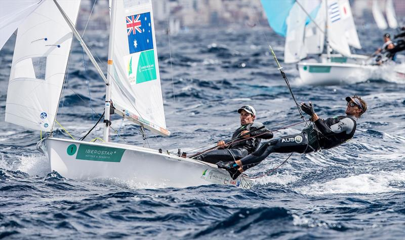 Mat Belcher and Will Ryan in the 470 Men's Medal Race - Princess Sofia Trophy - photo © Sailing Energy