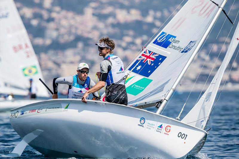 Mat Belcher and Will Ryan sail through extremely light air - Genoa World Cup Series - photo © Sailing Energy