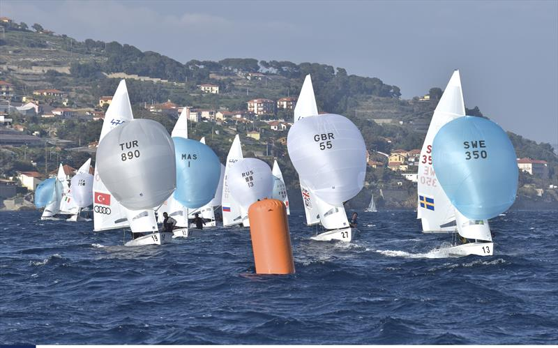 Racing in the only race sailed on Day 3 of the 2019 European 470 Championships, San Remo - photo © GerolamoAcquarone