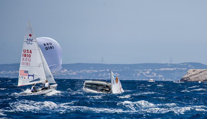 Women's 470 racing on day 4 of the Hempel World Cup Series Final in Marseille photo copyright Sailing Energy / World Sailing taken at  and featuring the 470 class