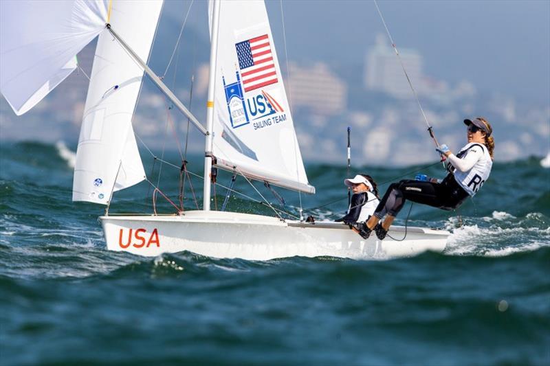 U.S. Women's 470, Nikole Barnes and Lara Dallman-Weiss - Ready Steady Tokyo, day 3 - photo © Pedro Martinez / Sailing Energy / World Sailing