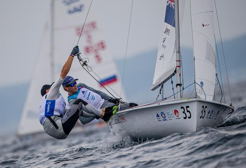 Paul Snow-Hansen and Dan Willcox (NZL) on their way to win the first race in the Sailing World Cup Enoshima - Day 1, August 27, 2019 - photo © Jesus Renedo / Sailing Energy