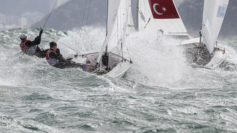The NZ mens 470 bursts through a wave - Day 4, 2016 Olympic Regatta - photo © Richard Gladwell / Sail-World.com