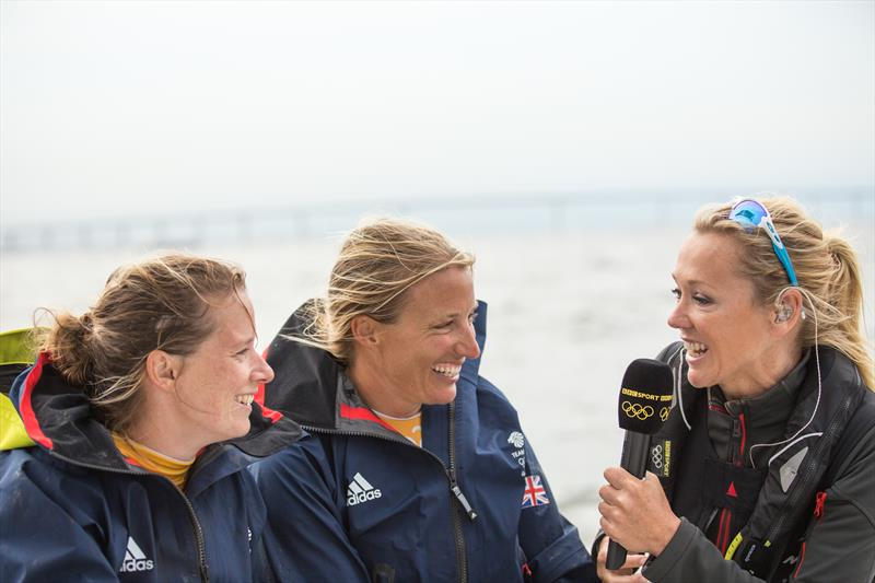 Shirley Robertson interviews Team GBR's Hannah Mills (left) and Saskia Clark (center) - photo © Image courtesy of the Shirley Robertson Collection