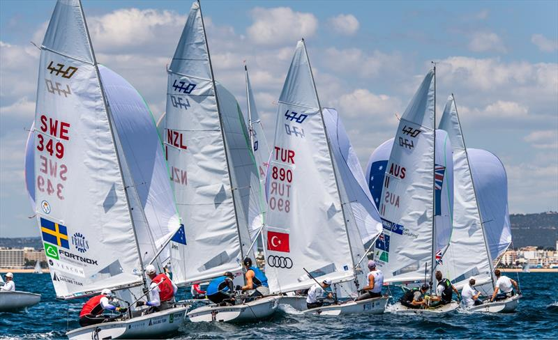 Close racing in the Mens 470 on Day 2 at Vilamoura © Joao Costa Ferreira