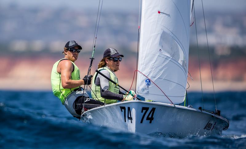 Paul Snow-Hansen and Dan Willcox (NZL) continue to lead the Open Mens European 470 championship after Day 3 - photo © Joao Costa Ferreira