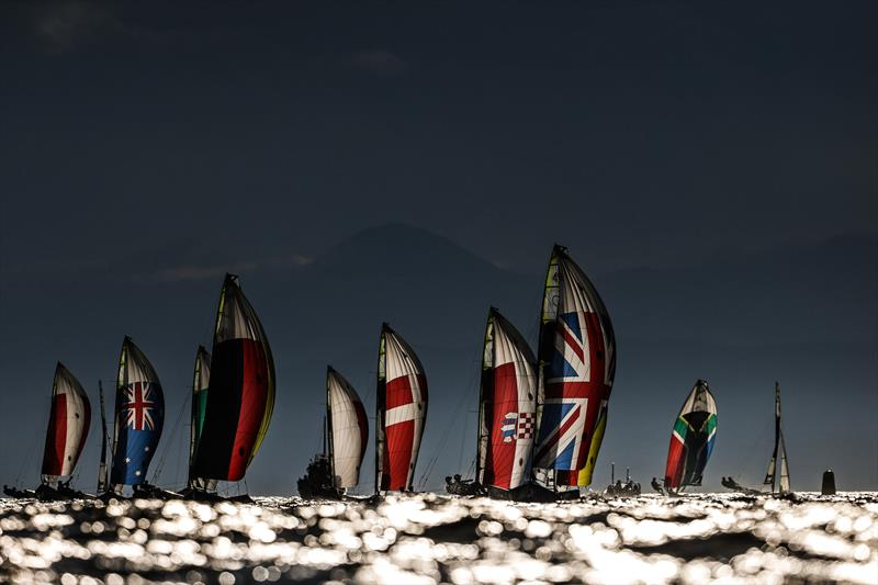 49er fleet under an ominous sky on Tokyo 2020 Olympic Sailing Competition Day 3 - photo © Sailing Energy / World Sailing
