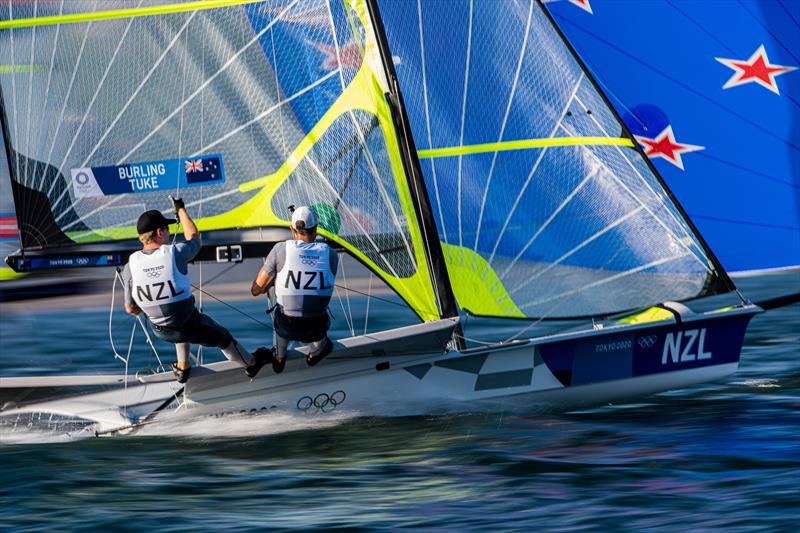 Pete Burling & Blair Tuke during the opening 49er races at the Tokyo 2020 Olympic Sailing Competition - photo © Sailing Energy / World Sailing