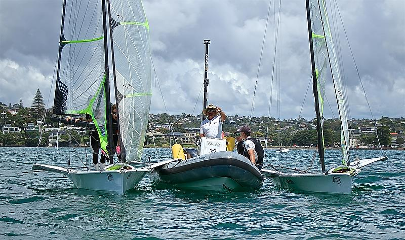 The NZL 49er team tracks the trends in the breeze while waiting for the breeze to settle in on Day 3 of the 2018 Oceanbridge Sail Auckland Regatta - photo © Richard Gladwell