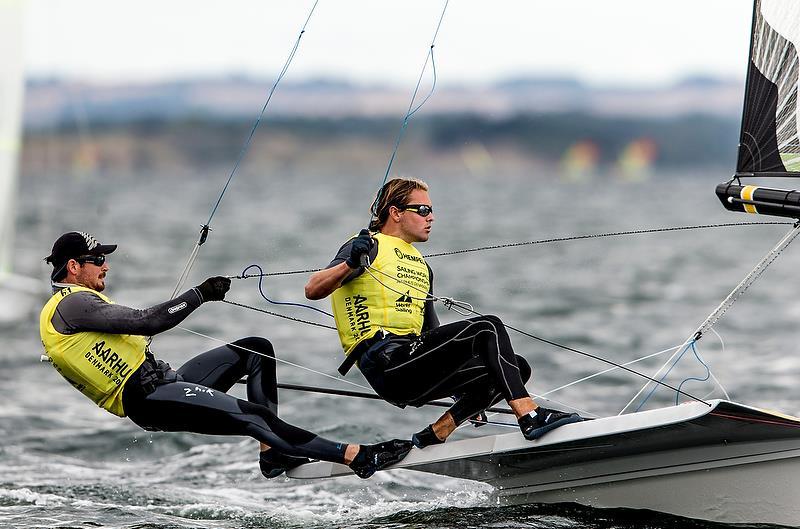 Logan Dunning Beck / Oscar Gunn (NZL) - 49er - Day 4 - Hempel Sailing World Championships, Aarhus - August 2018 - photo © Sailing Energy / World Sailing