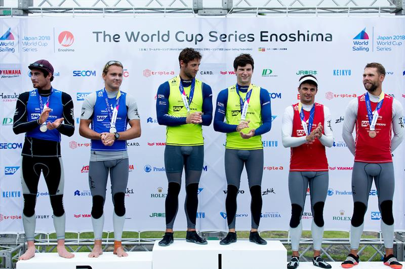 49er podium at the Sailing World Cup, Enoshima - photo © Jesus Renedo / Sailing Energy / World Sailing