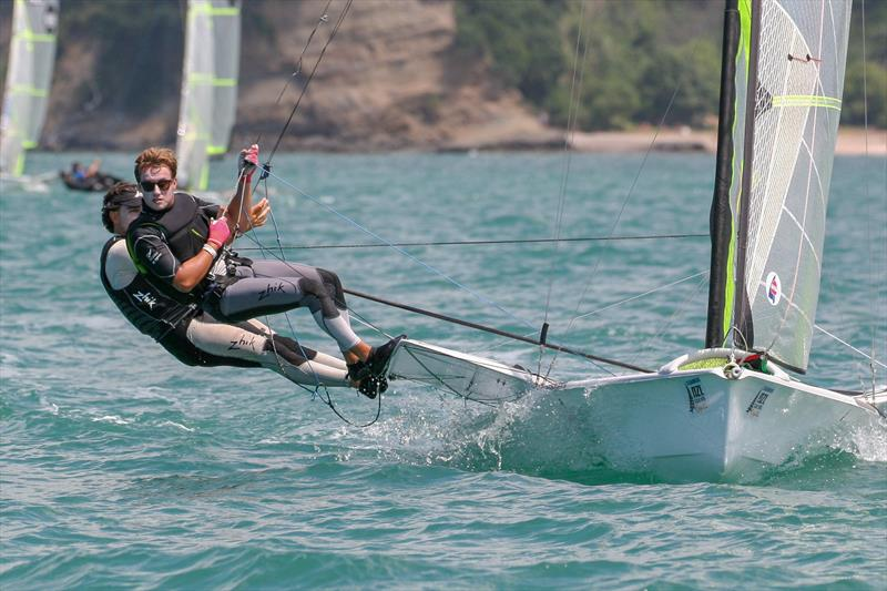 49er - Day 1, Oceanbridge NZL Sailing Regatta, February 1, 2019 photo copyright Michael Brown, Yachting New Zealand taken at Yachting New Zealand and featuring the 49er class