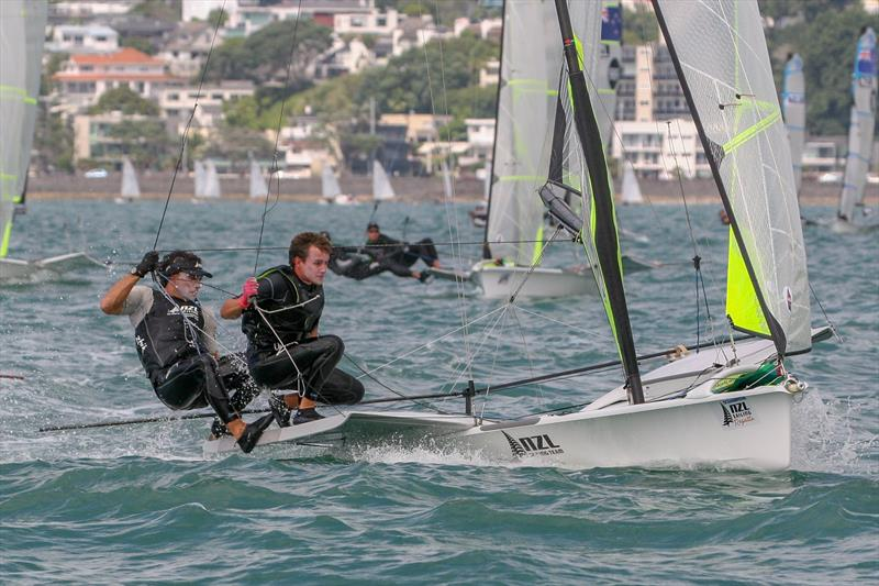 Joseph Porebski and Trent Rippey - 49er - Day 3 - Oceanbridge NZL Sailing Regatta, February 2019 photo copyright Michael Brown, Yachting New Zealand taken at Royal Akarana Yacht Club and featuring the 49er class