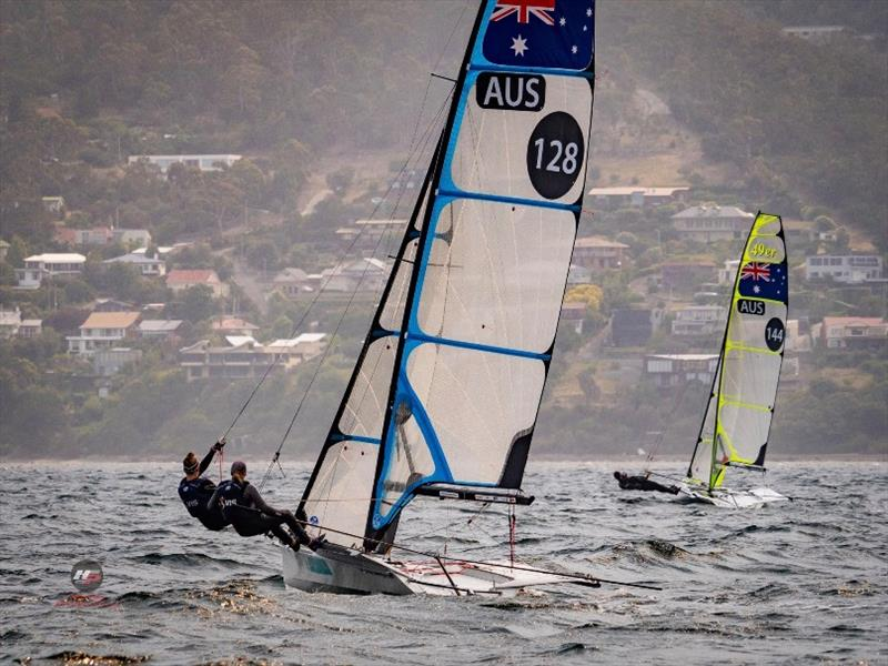 Laura Harding and Laura Thompson (49erFX 128) and James Grogan and Charlie Dickson (49er) sailing for RBYC at the Zhik Australian 9er Champs - photo © Ollie Hartas