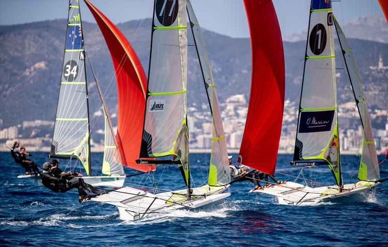 Josh Porebski and Trent Ripper cross Peter Burling and Blair Tuke - 49er - NZL Sailing Team - Trofeo Princesa Sofia Iberostar - Day 5 - April 5, 2019 - photo © Sailing Energy