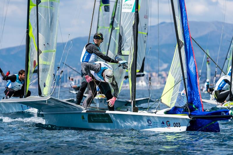 David and Lachy Gilmour in the thick of it - Genoa World Cup Series photo copyright Beau Outteridge taken at  and featuring the 49er class