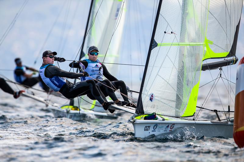 Isaac McHardie and William McKenzie - 49er - NZL Sailing Team - 2019 Hempel World Cup Series, Genoa, April 2019 photo copyright Sailing Energy taken at Circolo del Remo e della Vela Italia and featuring the 49er class