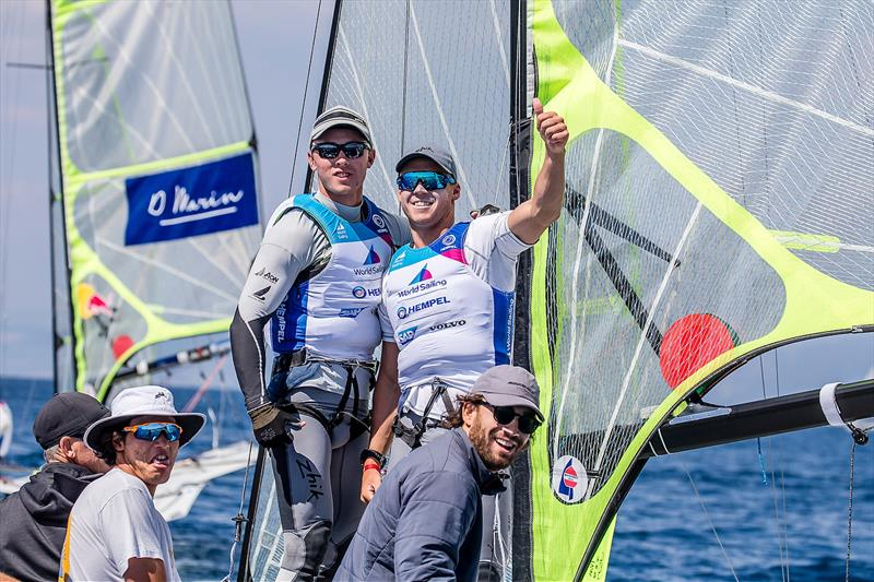 Isaac McHardy and William McKenzie - 49er - NZL- Day 6 - Hempel Sailing World Cup - Genoa - April 2019 - photo © Jesus Renedo / Sailing Energy