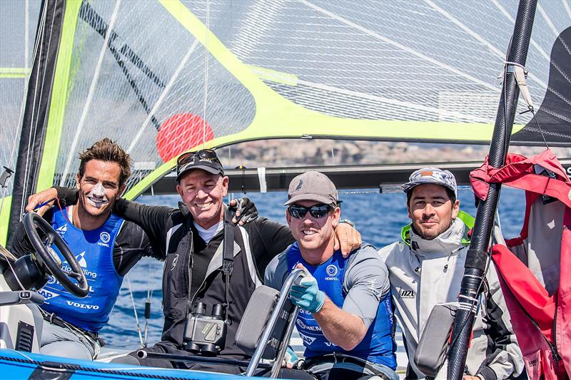 Peter Burling and Blair Tuke with coach Hamish Willcox (second from left) - 49er - NZL- Day 6 - Hempel Sailing World Cup - Genoa - April 2019 - photo © Jesus Renedo / Sailing Energy